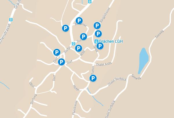 map of parking in grachen